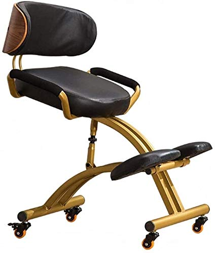 LXING Kneeling Chair Ergonomic for Office Adjustable Work Chair with Backrest and Armrests Faux Leather Cushion Improve Posture Angled Seat for Home & Office