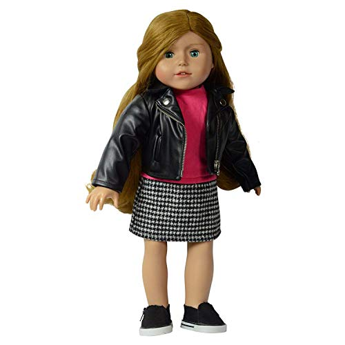 The New York Doll Collection Komplett Outfit für Mode Mädchen Puppe Inklusive Lederjacke mit Kleid-Rosa Oberteil und Hahnentritt-bedrucktes Unterteil Passt 18 Zoll/46cm Puppen - Puppenkleidung zubehör