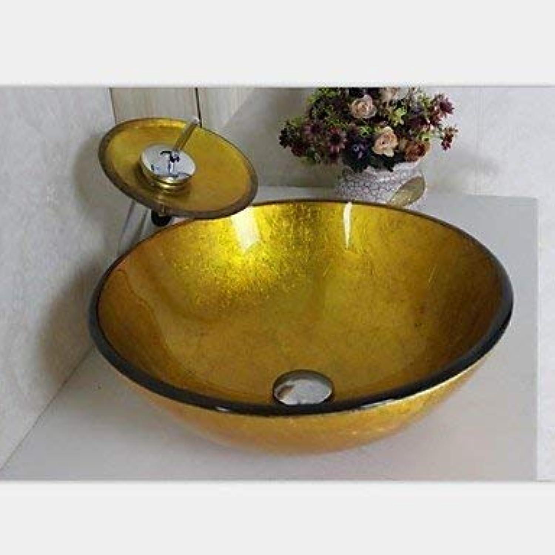 SEEKSUNG Waschschalen Gold-handbemalt runden gehrtetes Glaswaschbecken, Wasserfall Wasserhahn, InsGrößetion und Entwsserung