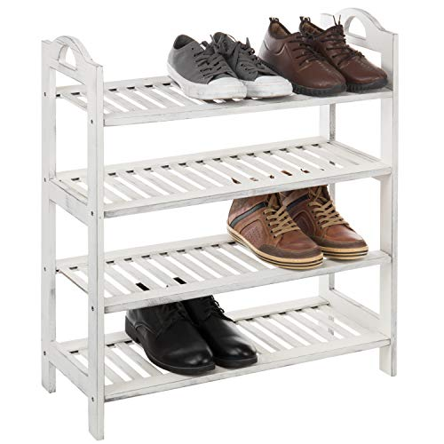 MyGift 4-Tier Vintage White Wood Entryway Shoe Rack Storage Shelves with Handles