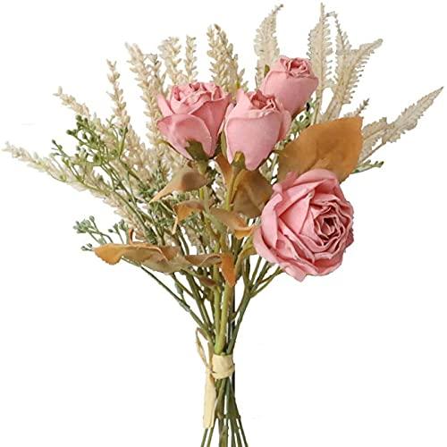 Yyhmkb Flores Secas Artificiales Arreglos Florales De Rosas De Seda Falsa 2 Paquetes De Orejas De Trigo De Plástico Decoración De Ramo Decoración del Hogar Centros De Mesa Rosa