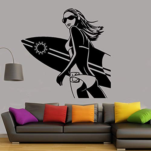 yaonuli Bikini Surf Meisje Muursticker Meisje Slaapkamer Woonkamer Art Mural Home Decor Vinyl Sticker Surfing Applique