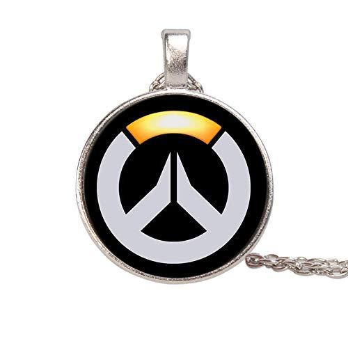 Collar con colgante de cristal amarillo y blanco Overwatch con personalidad y accesorios de tendencia popular europea y americana chapado en plata
