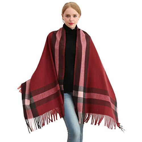 Longwu Bufanda de lana de cachemira suave para mujer Manta y envoltura de pashmina grande Manta de estola cálida Vino rojo*
