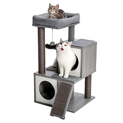 """Amazon Brand – Eono Moderne Holz Kratzbaum Katzenbaum Sisal Katzenkratzbäume Kätzchen Möbel mit Katzenhöhle Spielhaus Katzenspielzeug Grau Höhe 34"""""""