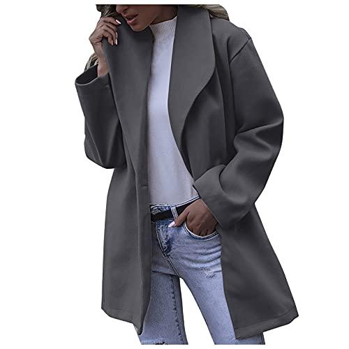 Abrigo de lana de solapa para mujer chaqueta de trinchera de un solo pecho mezcla cálido delgado abrigo largo Outwear, gris, L