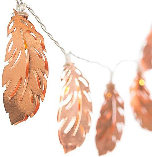 LLDKA Cadena de Hierro luz LED Forjado con Plumas de Oro y decoración de la Boda para Las Hojas o de cumpleaños Blanca cámara Caliente 2,5 m
