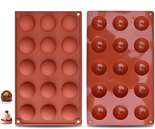 2 Packs 15-Cavity Silicone Molds, Mousse Mold Half Sphere Silicone Molds Cake Molds for Baking Round Shape Silicone Molds for Baking Pudding Jelly Handmade Soap Dome Mousse