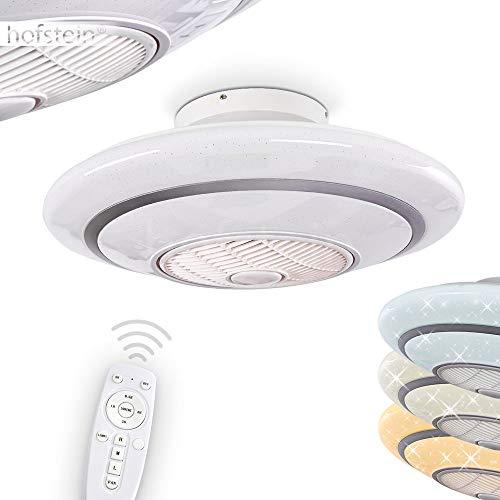 LED Deckenventilator Sitges in Weiß, LED Deckenleuchte mit Ventilator, 24 Watt, Ø 59 cm, dimmbar über Fernbedienung, 3000-6000 Kelvin, in 3 Stufen einstellbar, für Sommer u. Winter (Auf- u. Abwind)