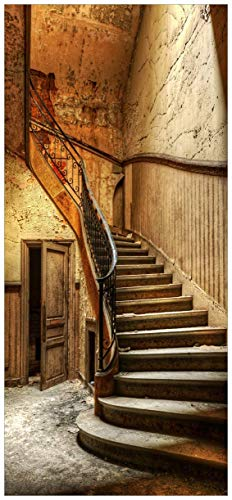 posterdepot ktt0447 Türtapete Türposter Rustikale Holztreppe-Größe 93 x 205 cm