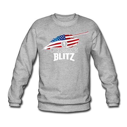 Spreadshirt World of Tanks Blitz Héros Américain Sweat-Shirt Unisexe, XXL, Gris chiné