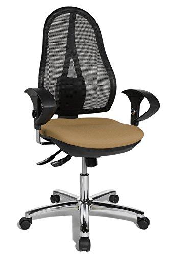 Topstar Open Point SY Deluxe, ergonomischer Syncro-Bandscheiben-Drehstuhl, Bürostuhl, Schreibtischstuhl, inkl. Armlehnen (höhenverstellbar), Stoff, hellbraun