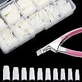 ZWOOS 500 Piezas Tips Uñas Falsas Artificiales Postizas Natural Francés Nails con Cortaúñas Falsos para Manicura y Diseños Uñas DIY