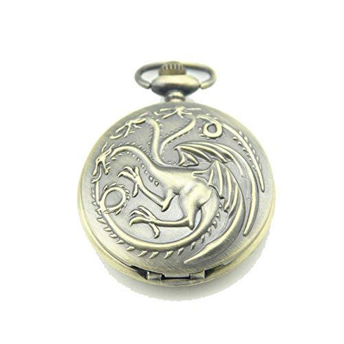 Regalo del Collar del Reloj del Reloj De Bolsillo Retro Tres Dragón Mágico Reloj De Bolsillo Colgante De Bolsillo Abierto para Los Padres Día Día del Aniversario (sin Cadena)
