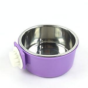 lnccomam amovible en acier inoxydable pour animal domestique à suspendre Cage pour chien Bol Petit Animal Bol de nourriture et d'eau