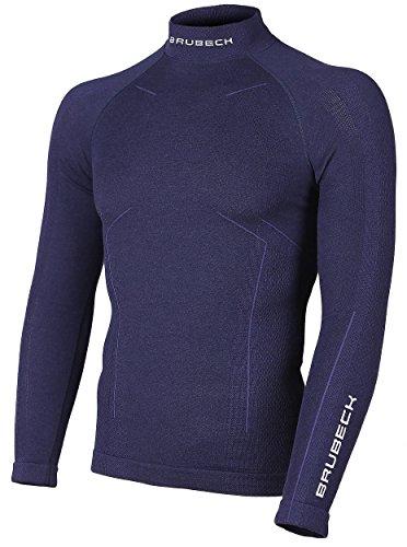 Brubeck Homme Maillot de Corps Fonctionnel | Manches Longues | Sports d'hiver | Thermo | Haut | sous-vêtement | 78% Laine Mérinos | LS11920 Bleu Marine L