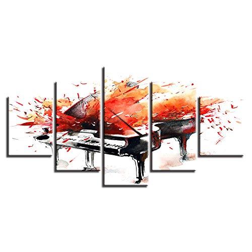 Murturall canvasdruk 5 frames muurkunst decor moderne woonkamer 5 stuks Graffiti-muziek piano canvas schilderij poster modulaire Hd afdrukken abstracte foto-100x55cm