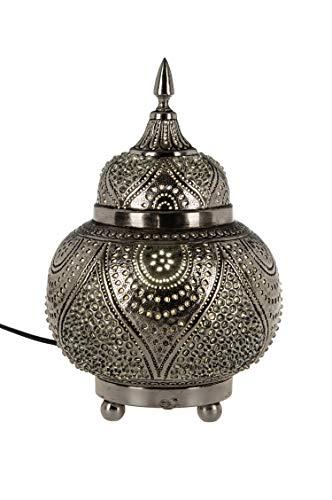 Orientalische Messing Tischlampe Lampe Farhana 28cm in Silber | Marokkanische Tischlampen klein Lampenschirm silberfarben | kleine Nachttischlampe modern für Vintage Retro & Landhaus Stil Design