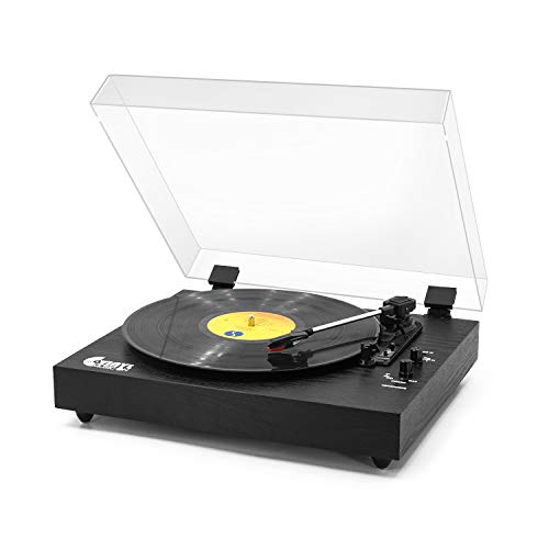 Retro Record Player for 33/45/78 RPM Vinyl Records,Bluetooth Belt-Drive Turntable with Built-in Stereo Speakers,Black