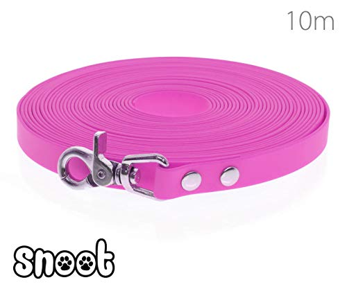 SNOOT Schleppleine 10m Pink - zugfeste, schmutz- und Wasserabweisende Hundeleine mit einem Karabiner