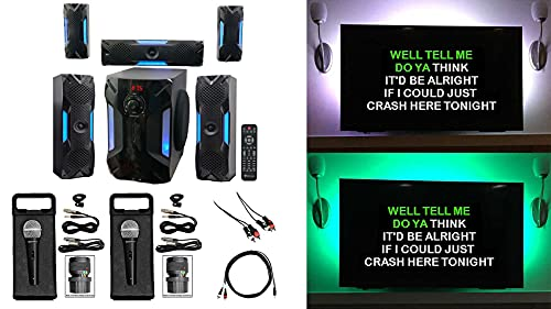 """Rockville Bluetooth Home Theater Karaoke Machine System w/8"""" Subwoofer + LED"""