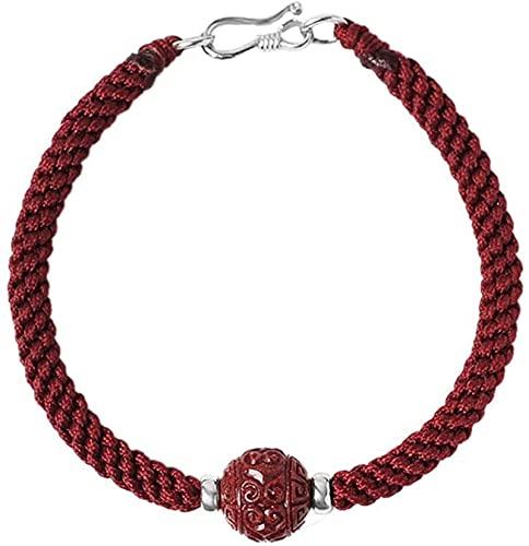 Pulsera Feng Shui Bead Feng shui amulet cinnabar pulsera prosperidad corazón sutra buddha perlas afortunado encantos trenzado pulsera hecho a mano atrae buena suerte dinero amor joya regalo para mujer