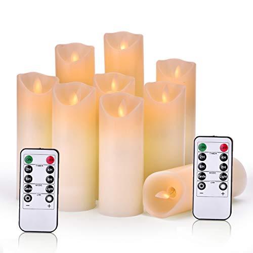 """OSHINE LED Kerzen,Flammenlose Kerzen,Weihnachten Φ 5.5cm x H5.5""""6""""6.5""""7""""8""""9"""" Set von 9echten Wachs-Säule Nicht Kunststoff mit 10-Tasten Fernbedienung Timer 300+ Stunden"""