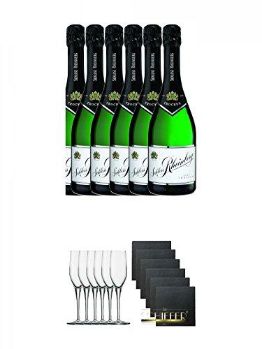 Schloß Rheinberg Sekt trocken Deutschland 6 x 0,75 Liter + Stölzle Exquisit Sektkelch 6er Pack + Schiefer Glasuntersetzer eckig 6 x ca. 9,5 cm Durchmesser