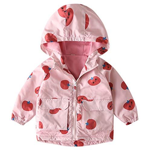 Baby Windbreaker Jacke mit Kapuze Fleece Mäntel Jungen Mädchen Oberbekleidung Jacken Warmer Frühling Herbst Kinderkleidung Rosa 2-3 Jahre