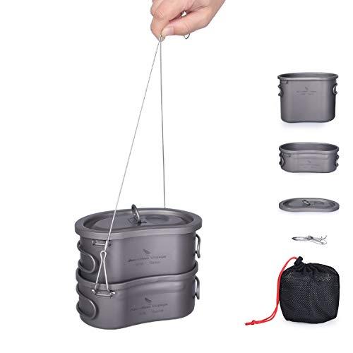 Boundless Voyage Titan Camping Topf Set mit Ultraleichte Brotdose Tragbare Schüssel Picknick Kochgeschirr Geschirr Titan Kantine Mess Kit für Wanderrucksack Ti15123B
