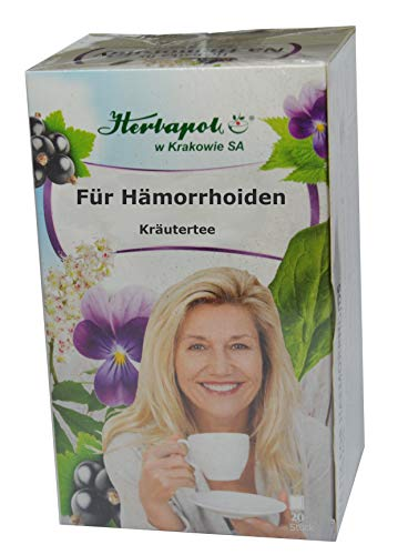 Für Hämorrhoiden Tee, 20 x 2g, mit 6 Kräutern, entzündungshemmend, antibakteriell, abschwellend, stillen Blutungen, stärken Blutgefäße im Dickdarm, salbe akut, zäpfchen