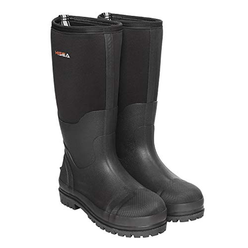 Hisea Men's Work Boots Neoprene Waterproof Rubber Muck Mud Work Boot Insulated Outsole Black