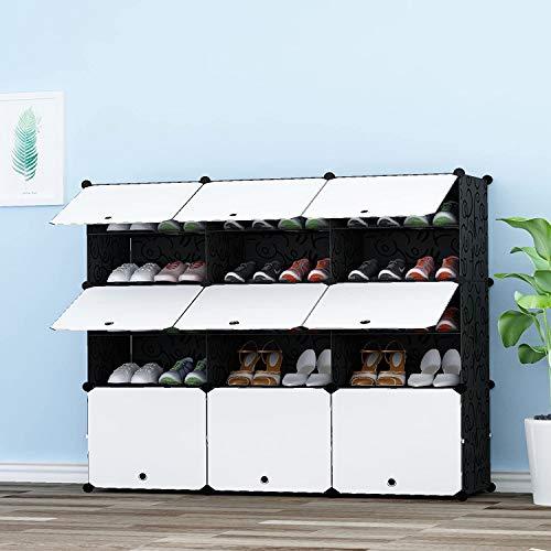 HOMEYFINE Zapatero, Sostén de Almacenamiento portátil de Zapatos, Cubos de Armario modulares para Ahorrar Espacio, Cajas de Almacenamiento de Zapatos y Zapatillas, Negro y Blanco(3/5)