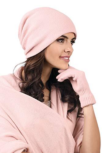 Kamea - Winterset Frascati - Mütze mit passendem Schal - verschiedene Farbauswahl, Winter Set:Hellrosa