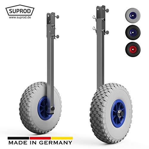 SUPROD Heckräder, Slipräder, Schlauchbooträder, Transporträder, klappbar, ET260, Edelstahl, grau/blau