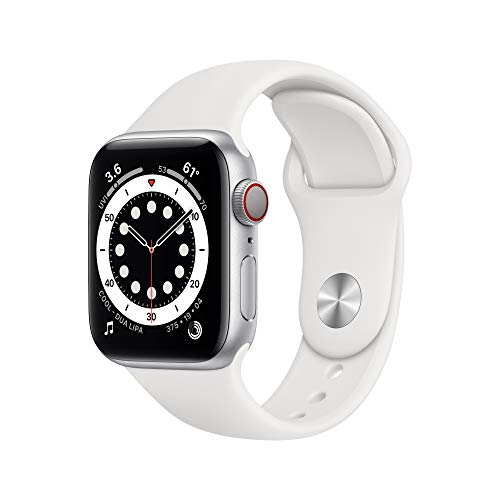 New Apple Watch Series 6 (GPS + Cellular, 40mm) - Silver Aluminum Case with White Sport Band