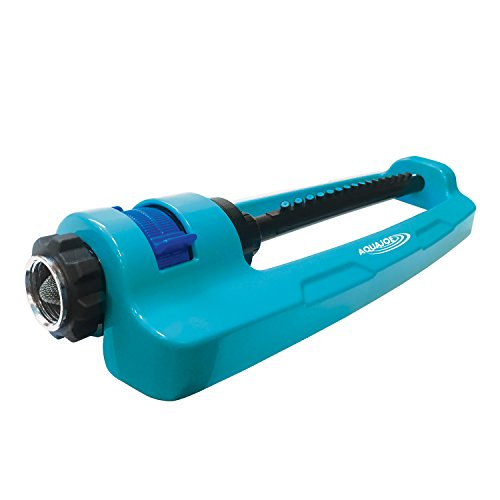 Aqua Joe SJI-OMS16 Indestructible Metal Base Oscillating Sprinkler with Adjustable Spray, Blue
