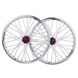 MZPWJD Fahrrad Laufradsatz 20 Zoll BMX Fahrradfelge Double Layer Alufelge Scheibe V Bremse Schnelle Veröffentlichung 7 8 9 10 Geschwindigkeit 32H (Color : White, Size : 20in)