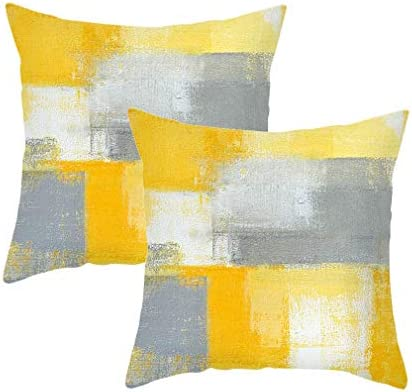 Throw Pillow Covers 18x18 Set of 2 Yellow and Grey Decorative Cushion Cover Case for Couch Bedroom product image