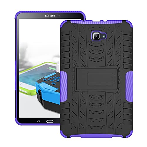 Tablet Protective Case Tablet Cover for Samsung Galaxy Tab A 2016 10.1/P585/P580 Tire Texture Shockproof TPU+PC Protective Case with Folding Handle Stand (Color : Purple)