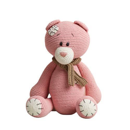 Chippi & Co Pink Stuffed Crochet Teddy Bear Plush 14.5'' Baby Girl My First Cuddle Animal Toy