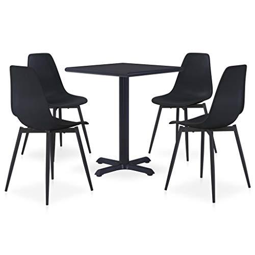 vidaXL Set de Comedor de Jardín 5 Piezas Conjunto de Muebles Exterior Cocina Hogar Terraza Mesa Silla Asiento Suave con Respaldo Metal y PP Negro