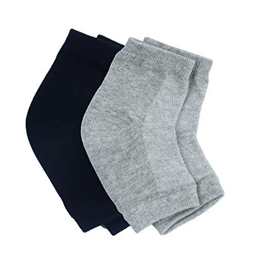 Aokbean 2 paar Hydraterende Siliconen Gel Heel sokken met Network for Dry Skin Hydraterende Open Teen Comfortabele Herstelsokken voor de Meeste Maten (Zwart&Grijs)