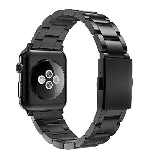 Simpeak Correa Compatible con Apple Watch Series 5/ Series 4/Series3/ Series 2/ Series 1 Correa 38mm de Acero Inoxidable Reemplazo de Banda de la Muñeca con Metal Corchete, Negro