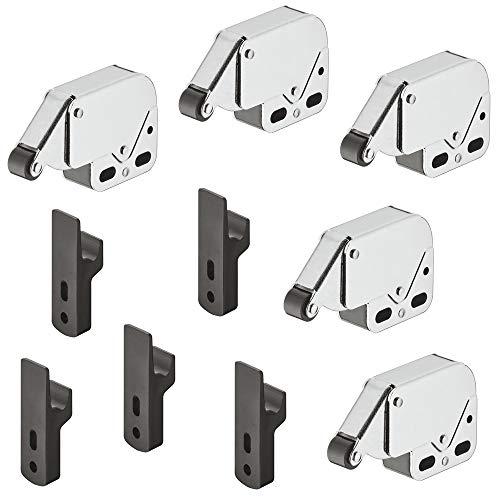 Gedotec Meubel-snapper kast-veersnapper laden druksluiting MINI-LATCH | deursnapper staal vernikkeld - rol zwart | 5 stuks - snapper met tegenstuk