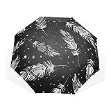 LASINSU Paraguas Resistente a la Intemperie,protección UV,Gráfico Artístico Patrón Indio Dibujo Animal Azteca Gitano Pluma Boda Hermoso Ave Línea Mosca Negra