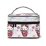 Neceser de maquillaje de Hello Kitty - Neceser portátil de viaje grande de malla B para mujer y niña