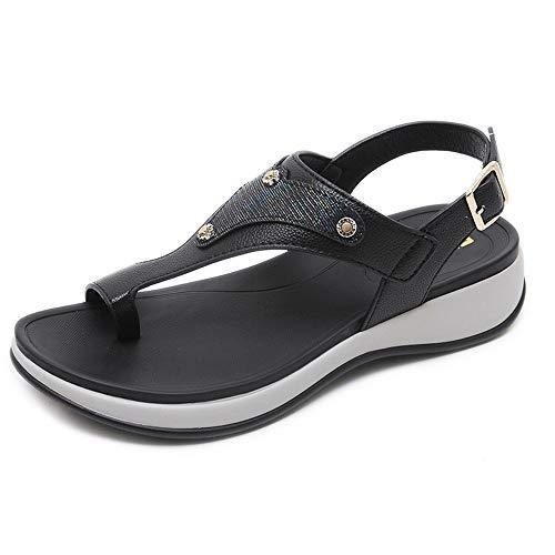 Sandalias De Verano Para Mujer, Vacaciones En La Playa, Hebilla De Fondo Grueso, Zapatos De Pies De Clip De Gran Tamaño
