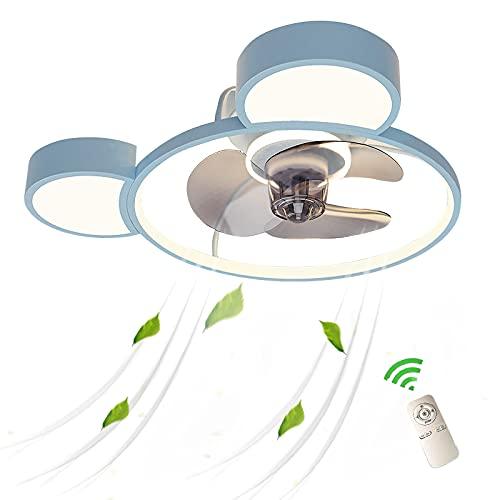 Infantil Lámpara Con Ventilador Potente Silenciosos Ventiladores De Techo Con Luz LED Regulable Ventilador Plafon Luces Mando A Distancia Modernos Metalico Turbo Dormitorio Niño Niña Habitacion