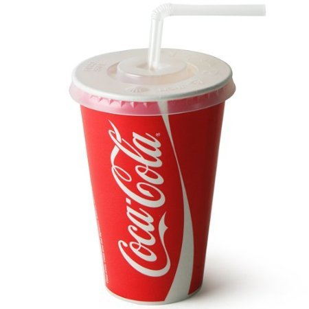 Thali Outlet - 100 x 9oz 250ml Coke Coca Cola Paper Cups & Slot Lids & Clear Straws for Fast Food Restaurants Parties Events - Cold Drinks